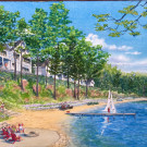 Rendering By Marty Rhein, Senior Designer at BAC Design Group in Traverse City, MI  View of Lakemore Resort Houses 3 (near), 2, (middle) and 1 (far)