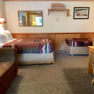 Historic Lodge Rooms include a queen bed, twin bed and a pull out couch.